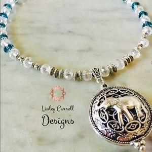 Jewelry - Blue Swarovski Crystal Elephant Pendant Necklace